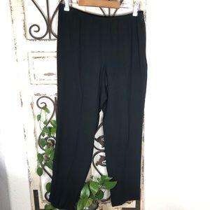Eileen Fisher black silk elastic waist zip pants